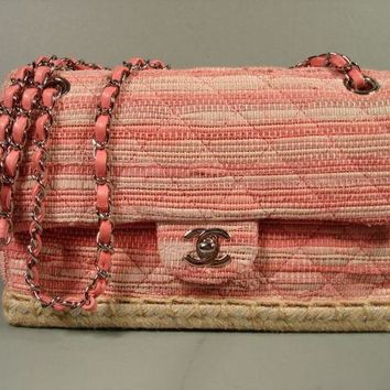 Chanel Pink Beige Whipstitch Leather Tweed Raffia Flap Bag Handbag Purse NEW