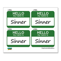 Sinner Hello My Name Is - Sheet of 4 Stickers