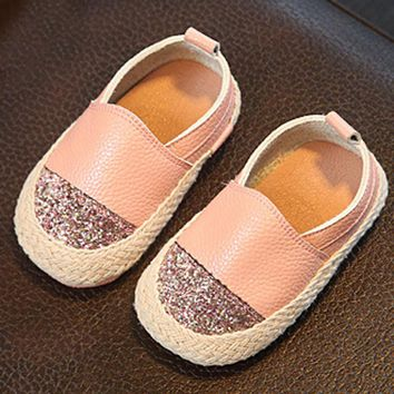 Kitiin Leather Baby Espadrilles 2017 Summer Infant Girls First Walkers Summer Baby Beach Shoes Slip on Infantil Casual Moccasins
