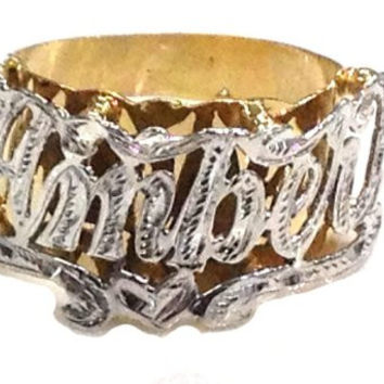 14k Gold Overly Any Name Ring Letters Personalized Jewelry/round