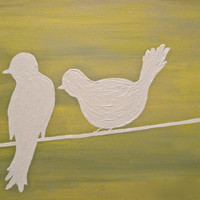 Yellow & White Bird Silhouettes on a Power by ASimpleKindOfFancy
