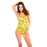 Yellow Jake The Dog Print One Piece Swimsuit