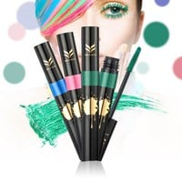 3D Colorful Mascara Green Waterproof Lengthening Curling Eye Lashes Mascara Party Makeup Bushy Mascara YE2