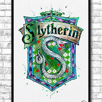 Slytherin Crest 3 Watercolor Print Harry Potter Fine Art Print Nursery Art Home Decor Wizard Nursery Kids Room Gift Slytherin Crest Poster