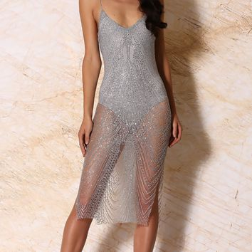 Miracles Happen Silver Glitter Shiny Sheer Metallic Sleeveless Spaghetti Strap Plunge V Neck Backless Bodycon Midi Dress