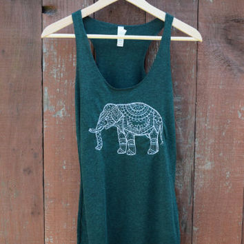 Triblend Emerald Racerback Yoga Tank with Embroidered Elephant