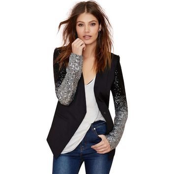 Black Silver Sequins Blazer Jacket