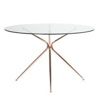 "Atos 48"" Round Dining Table with Clear Tempered Glass Top and Brushed Rose Gold Base"
