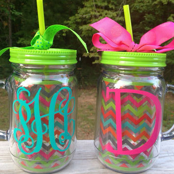 Personalized 20 oz Chevron Mason Jar by BeachyMommas on Etsy