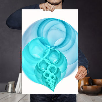 Blue and  White Abstract Painting Art Print - Pastel Blue Minimalist Bubble Large Poster | Printable Nursery Room Decor |  Housewarming Gift