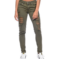 Rewash Vintage Reunion Olive Destroyed Skinny Jeans