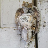 Angel statue wall hanging with handmade heart and crown distressed aged patina shabby cottage chic cherub home decor anita spero