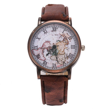 Fashion Vintage Retro World Map Watches Women Wristwatch Leather Strap Clock Women Ladies Watch Map reloj mujer relogio feminino -Christmas Gift