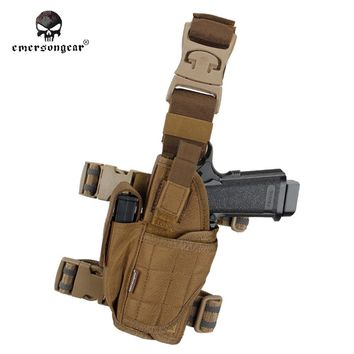 Pistol holder Right Left hand Holster EMERSON Tornado Universal Tactical Drop Leg Pouch coyote brown EM6208 CB