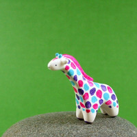 Colorful Little Giraffe - Hand Sculpted Miniature Polymer Clay Animal