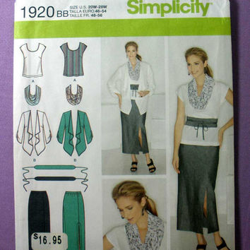 Women's Skirt, Top, Jacket, Scarf, Belt Simplicity 1920 Plus Size 20, 22, 24, 26, 28 Bust 42, 44, 46, 48, 50 Sewing Pattern Uncut