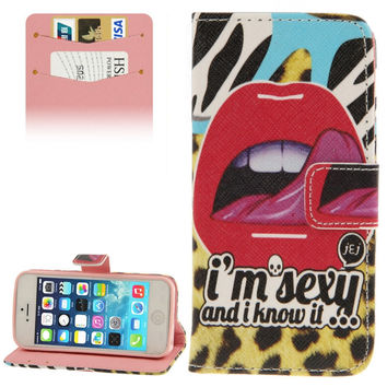 Sexy Lip Pattern Leather Case with Credit Card Slots & Holder for iPhone 5 & 5s & SE & SE