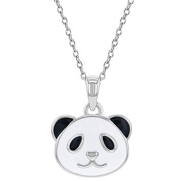 925 Sterling Silver Enamel Panda Bear Necklace Pendant for Girls 16""