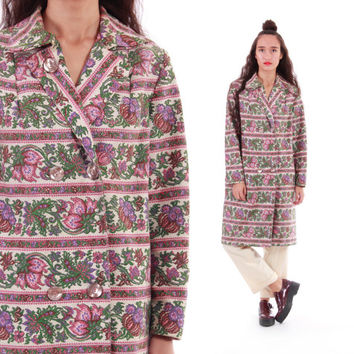 60s Tapestry Coat Mauve Pink Green Woven Floral Peacoat 1960's Vintage Winter Outerwear Boho Chic Clothing Womens Size Medium