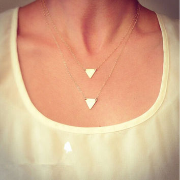 Double Triangle Layered Gold Plated Chain Necklace- Minimalist Jewelry