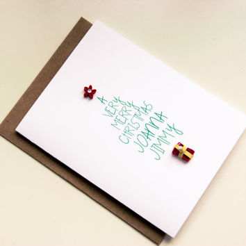 Personalized Christmas Card- Typography Christmas Tree Card - Family Christmas Card - Personalized Christmas Card - Christmas Stationery