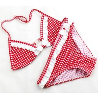 Girls  Bikini  Plaid  Ruffles  Pieces  Bathing  Teenage
