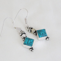 Turquoise Dangle Earrings Silver Plated