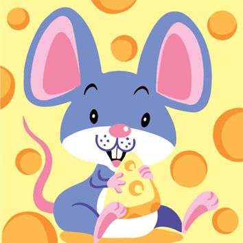 Hand-painted Digital Cartoon Paintings Animal Mouse Pictures Wall Art For Kids Framed DIY Chinese Zodiac Oil Painting By Numbers
