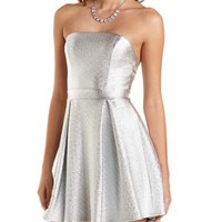 Strapless Metallic Skater Dress by Charlotte Russe - Silver Metallic