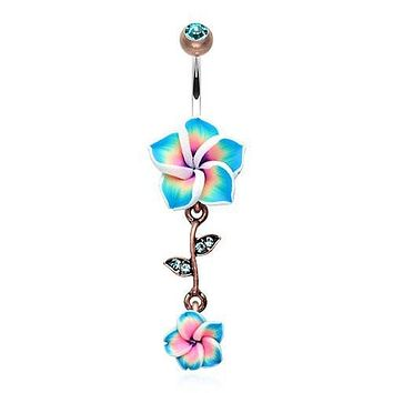 Vintage Hawaiian Plumeria Belly Button Ring 316L Surgical Steel