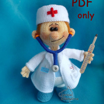 Doctor,knitting amigurumi,PDF pattern