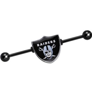 Officially Licensed NFL Oakland Raiders Industrial Barbell | Body Candy Body Jewelry