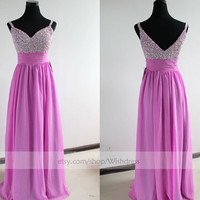 V-neck Sequins Bodice Lilac Long Prom Dress/ Long Homecoming Dress/ Formal Dress/ Evening Dress/ Party Dress From Wishdress