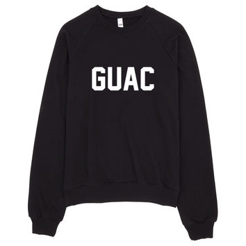 Guac Typography Guacamole Raglan sweater. Made in USA