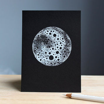 hand drawn postcard MOON 10,5 x 14,8 cm // black and white illustration