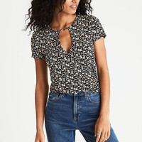 AEO Soft & Sexy Keyhole Wrap T-Shirt, Black