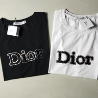 """Dior"" Unisex Casual Fashion Letter Diamond Short Sleeve Couple T-shirt Top Tee"