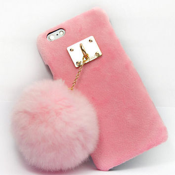 Furry Rabbit Tail creative case Cover for iPhone 5s 6 6s Plus