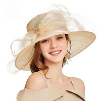 Elegant Organza Wide Brim Church Large Kentucky Derby Big Bow Hat