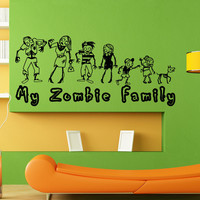 Vinyl Wall Decal Sticker Zombie Family #5027