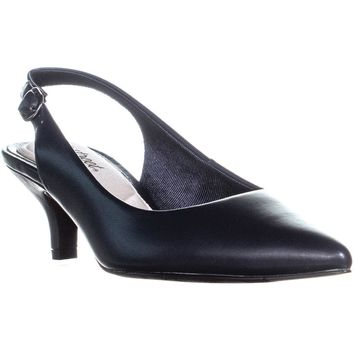 Easy Street Faye Sling Back Pumps, Navy, 9 US