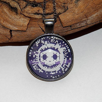 Overwatch sombra logo pendant necklace jewelry, Virus skin skull logo, video game sombra overwatch Fan Art simbol, sombra keychain emblem