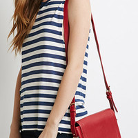 Flap-Top Faux Leather Crossbody