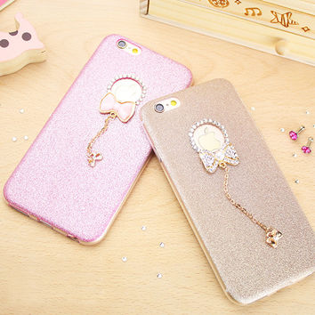 Fashion Glitter Bling Crystal Case For iphone 7 Case For iphone7 Plus 6 6S 5 5S SE Luxury Shine Bowknot Phone Cases Back Cover -Girllove100