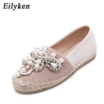 Eilyken Spring Autumn Women Loafer Round Toe espadrilles Pearl Comfortable Hemp Bottom Women Flats Shoes Slip On Mujer Black