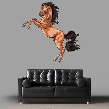 cik866 Full Color Wall decal horse rears up bay living room children's bedroom