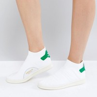 adidas Originals White Stan Smith Primeknit Sock Sneakers at asos.com