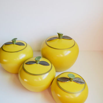 Vintage Yellow Apple Canisters Apple Containers Retro Kitchen Aluminum Canisters Cookie Jars Tea Tins Mid Century Modern Apples