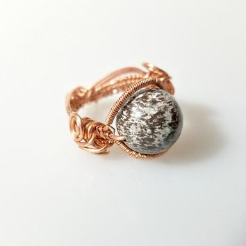 Wire Wrapped Ring, Woven Wire Jewelry, Boho Gemstone Ring