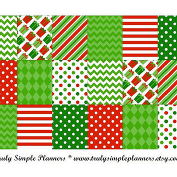Printable Red & Green Christmas Weekly Squares For Erin Condren Life Planner * PDF Instant Download